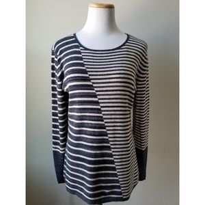 NIC+ZOE Anthropologie Navy Striped Crew Neck Top